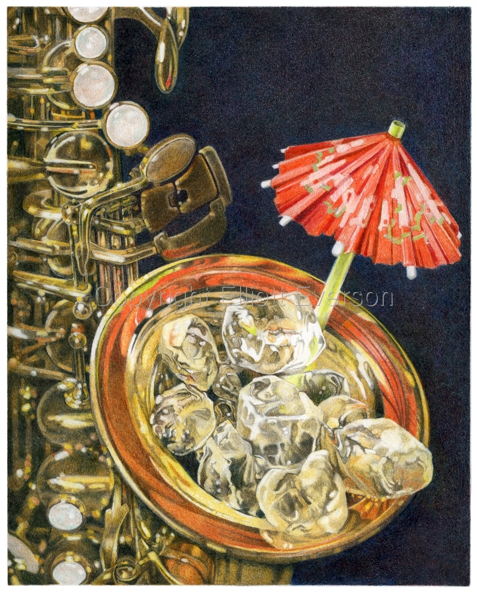 Colored Penil drawing of Saxophone filled with ice and a cocktail umbrella. (large view)