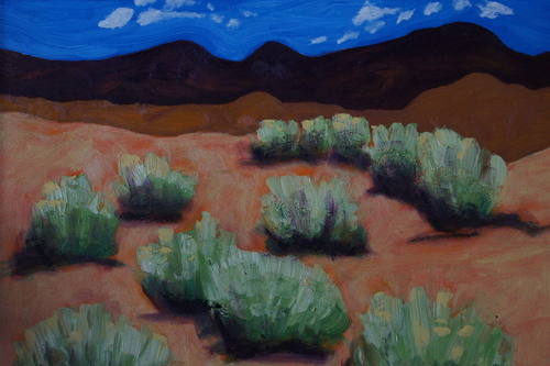 Purple hills by Elnora Nokes