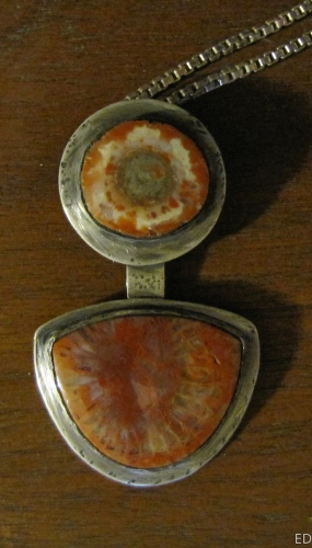 Red Coral and jasper Pendant