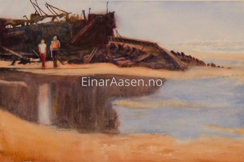 At the Beach by Einar Aasen - Watercolour landscapes, seascapes and portraits