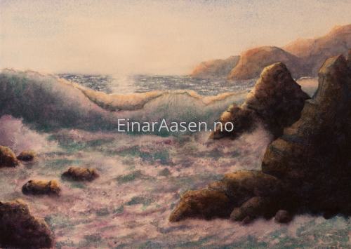 Seascape Study by Einar Aasen - Watercolour paintings
