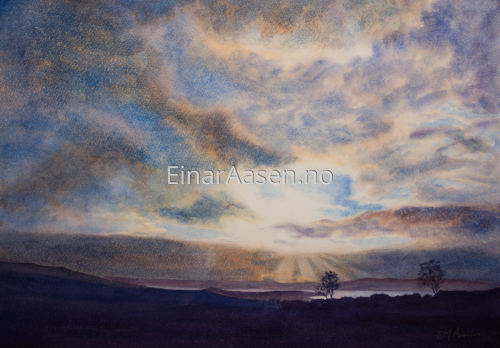 Evening Sky, Reppe by Einar Aasen - Watercolour landscapes, seascapes and portraits