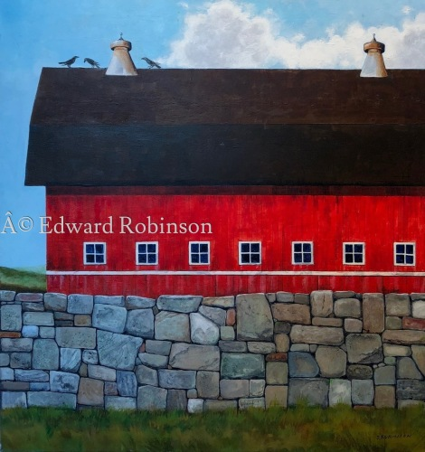 THREE CROWS ON BARN ROOF by Ed Robinson