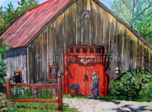 Harvie's Barn, Maine by Elaine Matt Schaffner