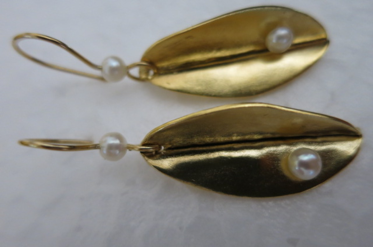 Earrings Leaf with Pearls  (large view)