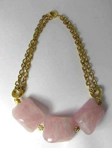 Rose Quartz Chunk Necklace   (large view)
