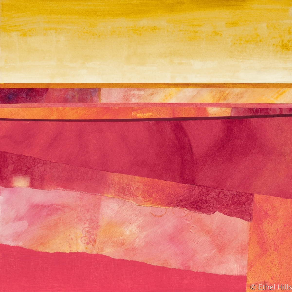 """Ethel Hills - """"Rhapsody"""" Abstract landscape painting in pinks, reds and yellows.  (large view)"""