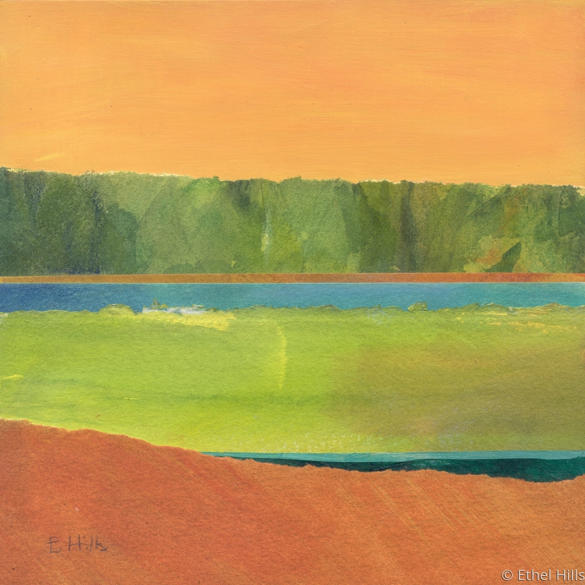 """Ethel Hills - """"Color Block #1 - 8"""" panel"""". Semi-abstract painting of the salt marsh using collage in orange and green.  (large view)"""