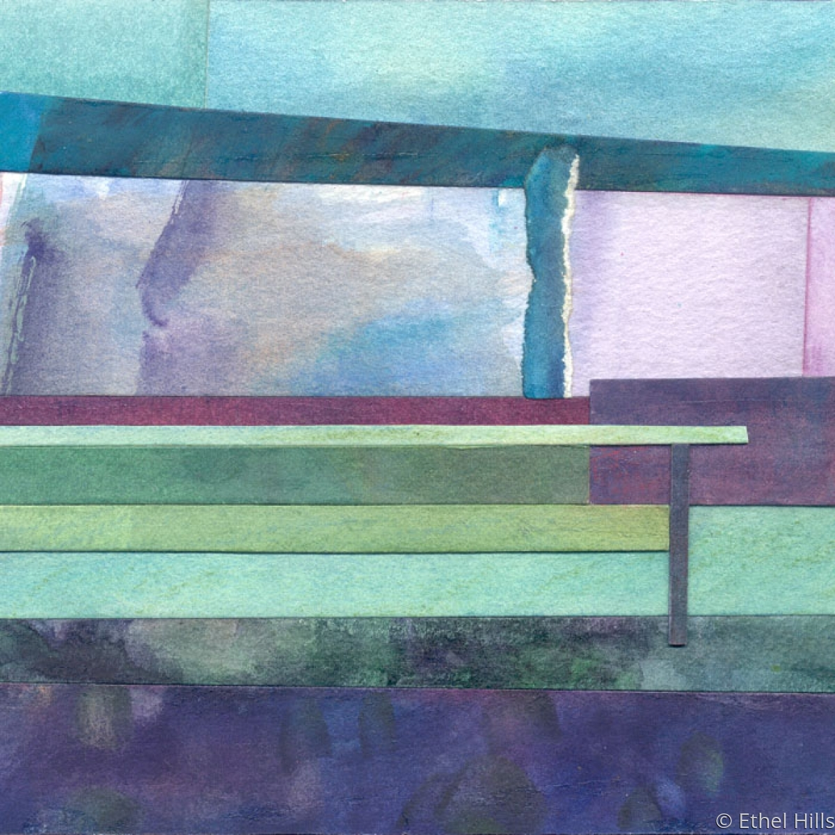 abstract landscape painting in mixed media collage on panel by Ethel Hills in blues, lavenders and green (large view)