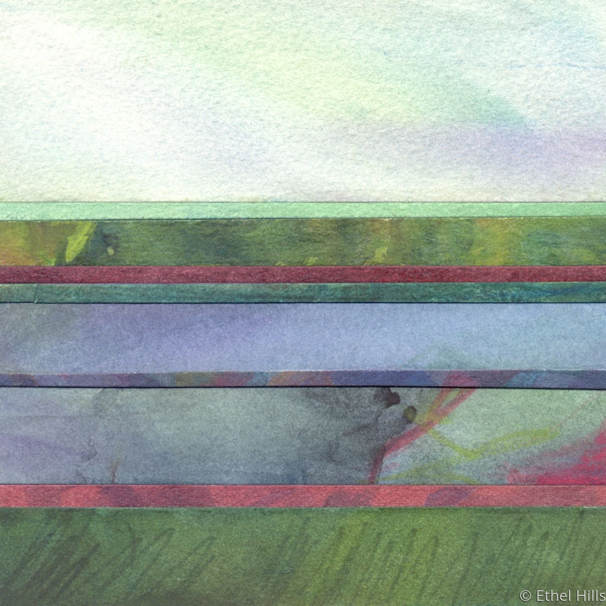 abstract landscape painting in mixed media collage on panel by Ethel Hills in blues and green (large view)