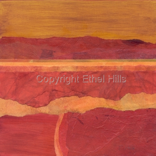 "Ethel Hills - ""Color Block #2 (8 inch panel). Semi-abstract landscape painting in reds & yellow. (large view)"