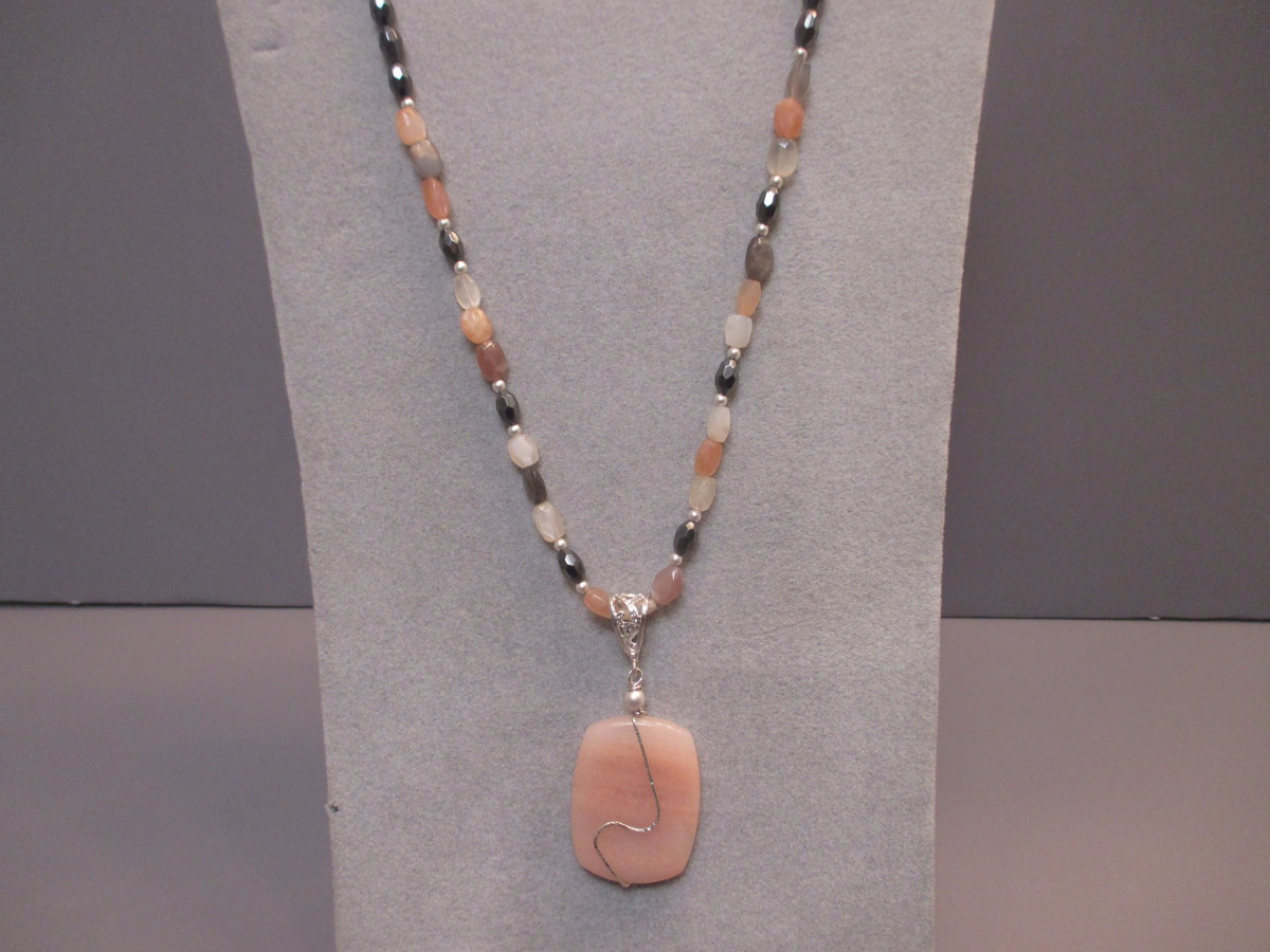 Sterling Silver Peach Adventurine , Moonstone and Hematine Set (large view)