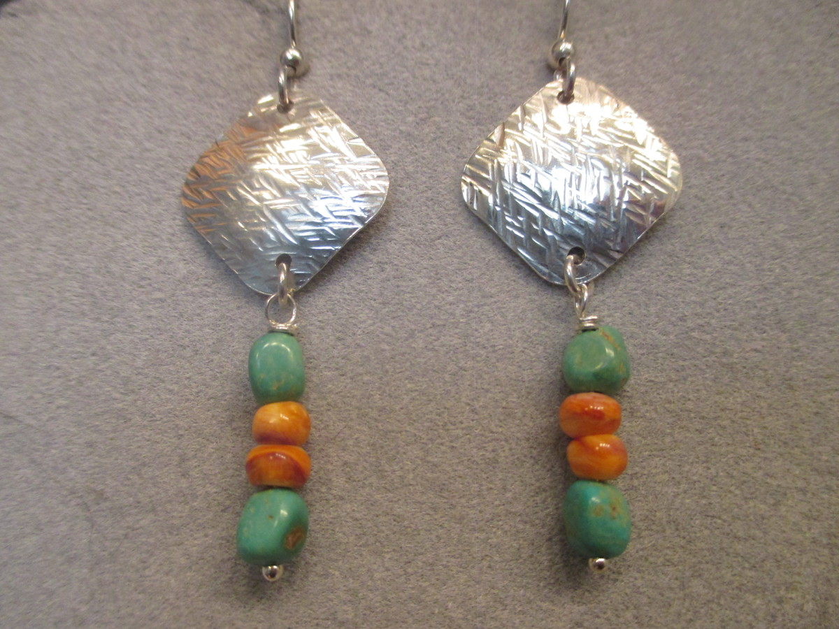 Sterling Silver Turquoise and Spiny Oyster Earrings (large view)