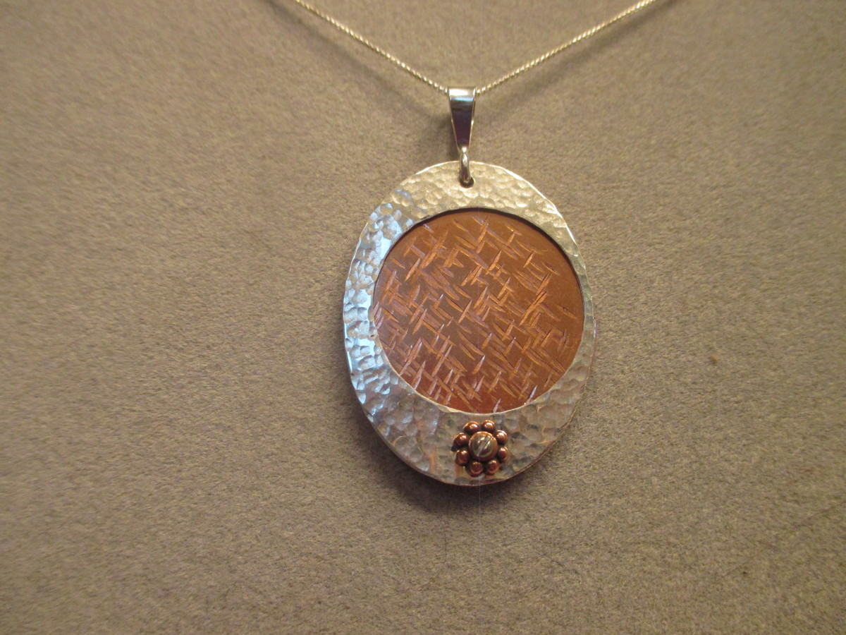 Layered Copper and Silver Necklace (large view)