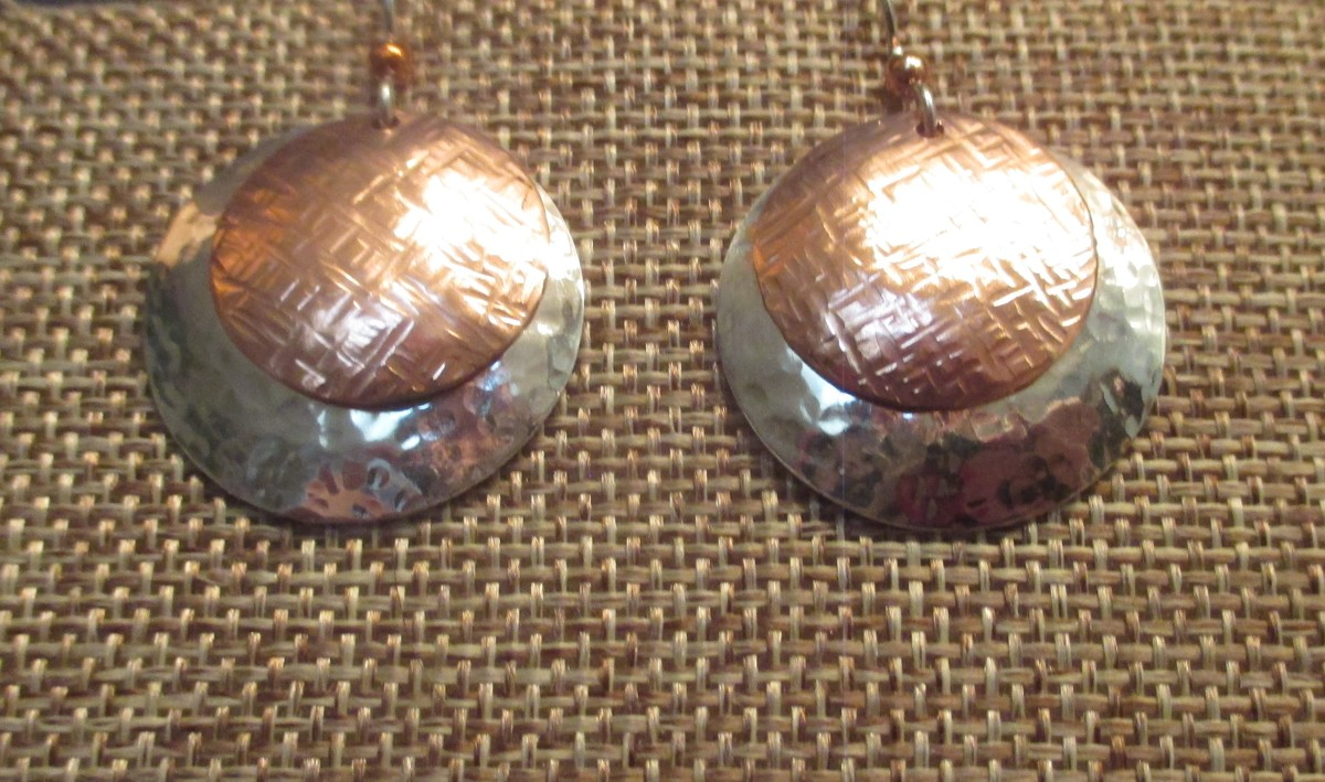 Sterling Silver and Copper Earrings (large view)