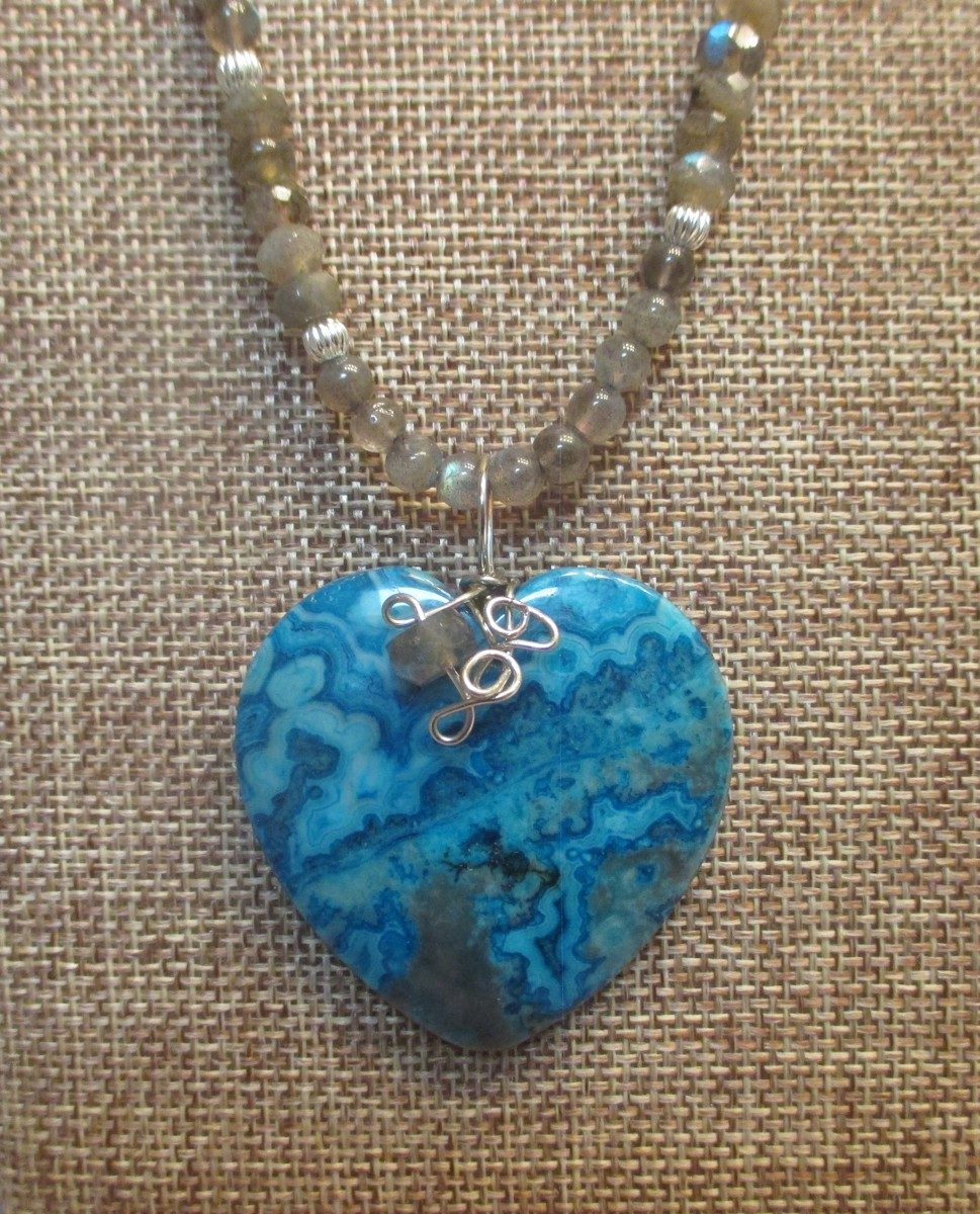 Blue Lace Agate Heart Necklace (large view)