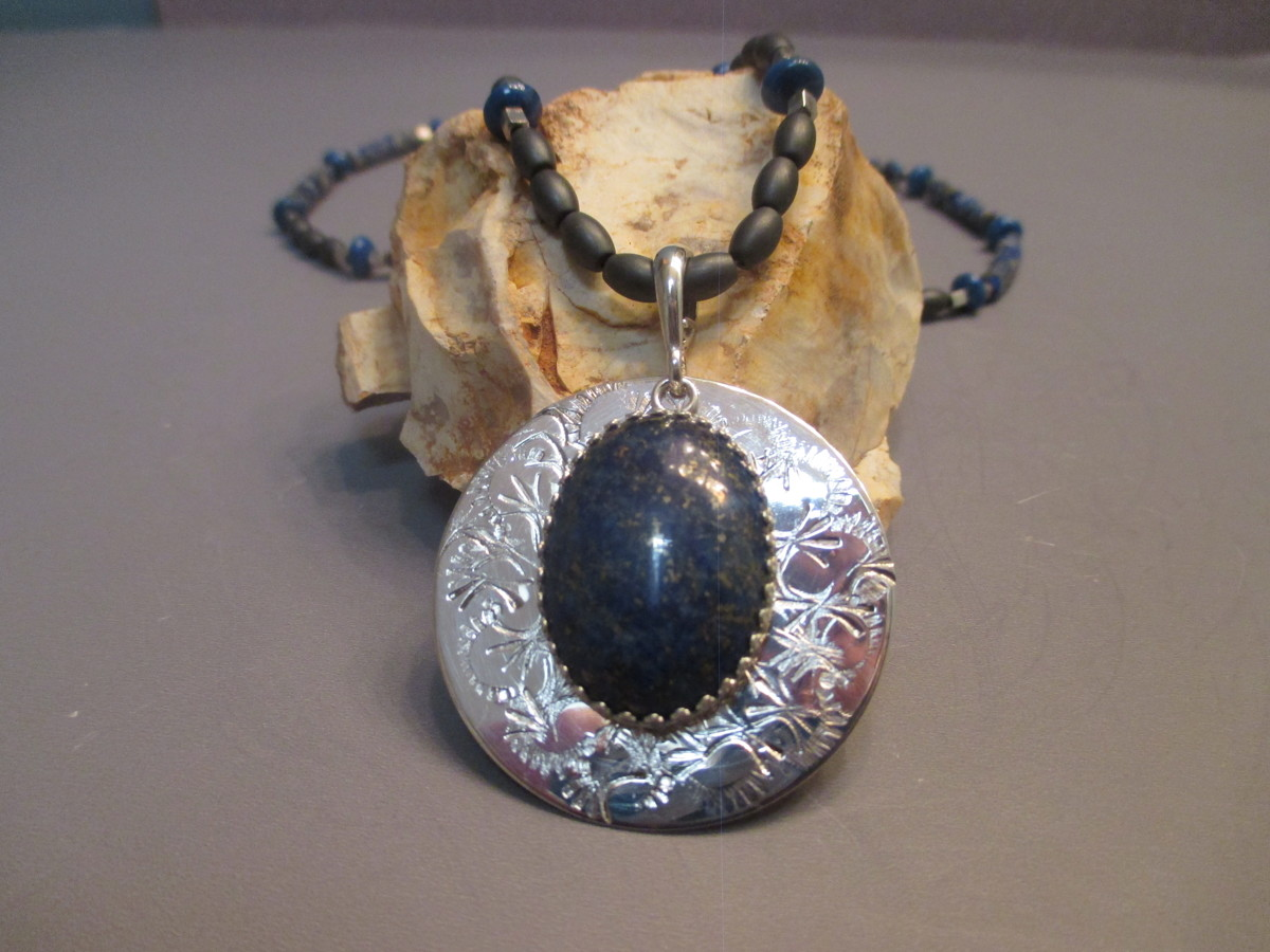 Handstamped Sterling Silver Lapis Necklace (large view)