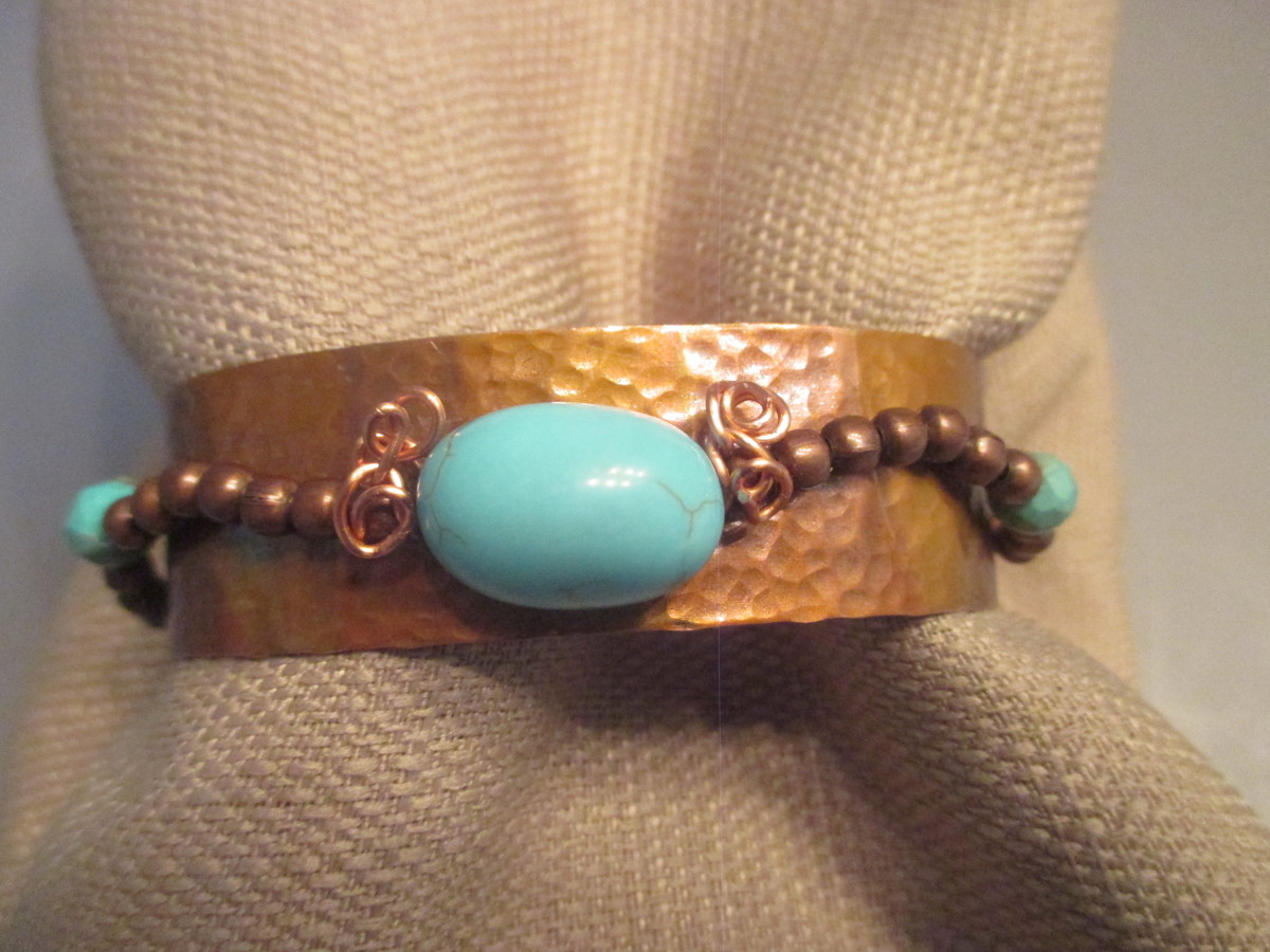 Hammered Copper Patina Cuff Bracelet (large view)