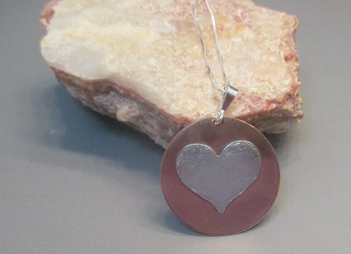 Copper and Sterling Silver Heart Necklace (large view)