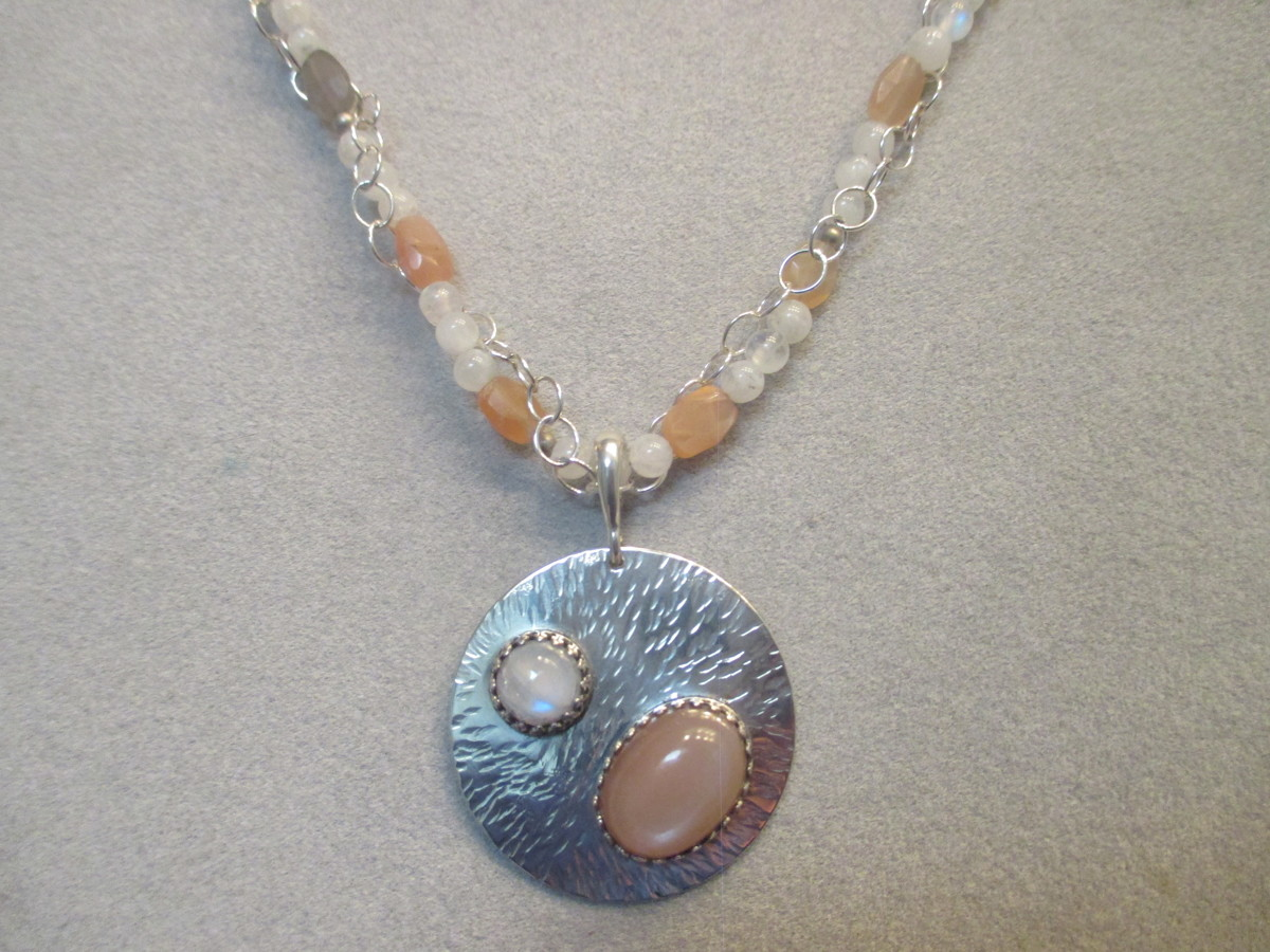 Sterling Silver Multi Colored Moon Stone Necklace (large view)