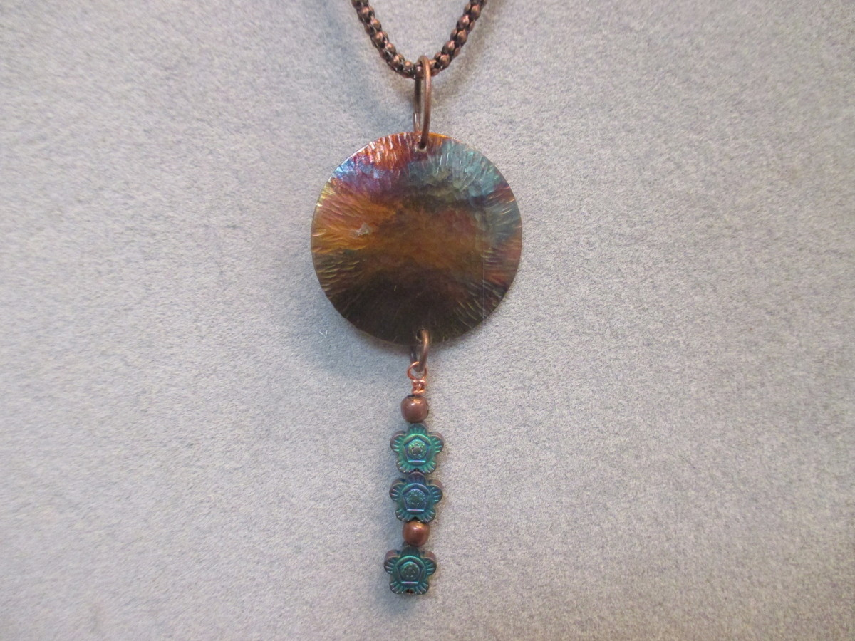 Copper Patina w/ Hematine Beads Necklace (large view)