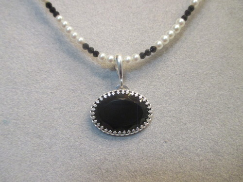 Black Onyx with Pearl and Black Spinel Necklace (large view)