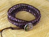 Amethyst Beaded Leather Wrap Bracelet (thumbnail)