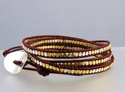 Two-tone Leather Wrap Bracelet (thumbnail)