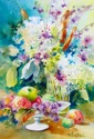 Fruits, hydrangeas and cattails (thumbnail)