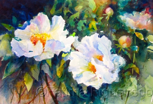 White Peonies #3 by Fatima Figueiredo
