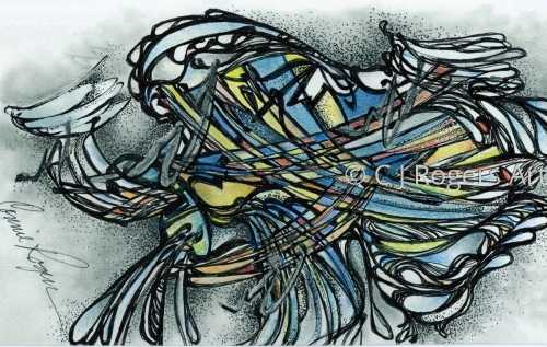 """Stained Glass"" Pen and Ink Drawing by Artist C. J. Rogers"