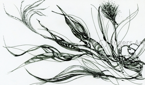 """Fumer De L'Herbe"" Pen and Ink Drawing by Artist C. J. Rogers"