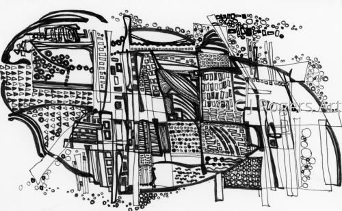 """Overview"" Pen and Ink Drawing by Artist C. J. Rogers"