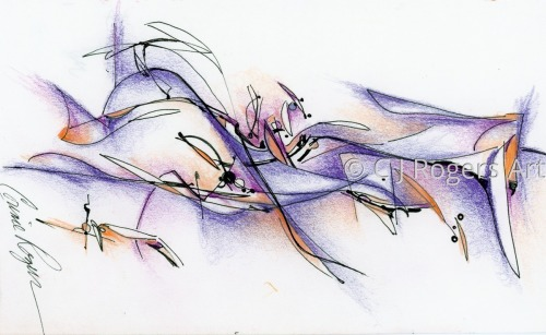 """Motion"" Pen and Ink Drawing by Artist C. J. Rogers"