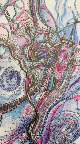 """Paisley Alive"" Pen and Ink Drawing by Artist C. J. Rogers"