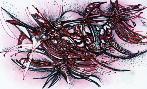 """Rouge"" Pen and Ink Drawing by Artist C. J. Rogers"