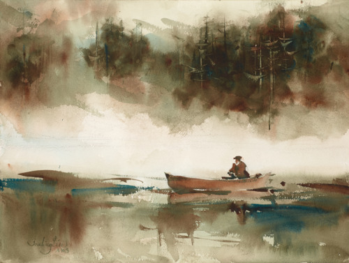Rambrant In The Boat by Fealing Lin Watercolors