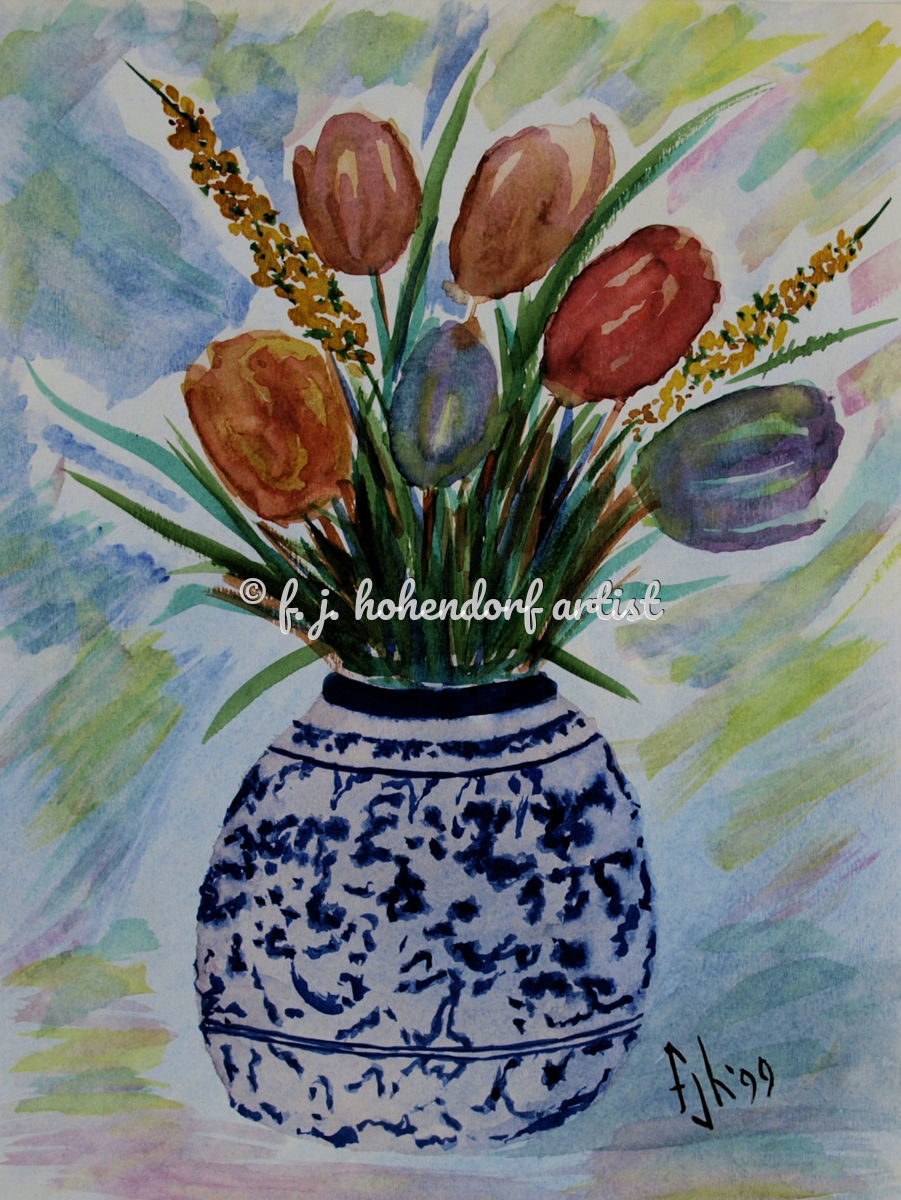 Tulips in Blue Vase POD (large view)
