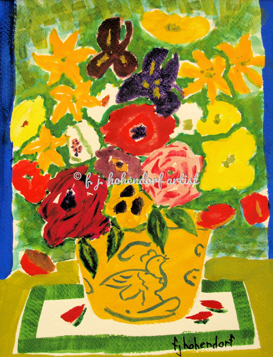 Floral Abstract in Yellow Vase POD (large view)