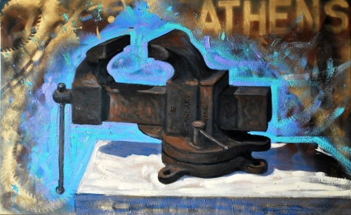 oil & encaustic painting of a large vise with spray paint (large view)