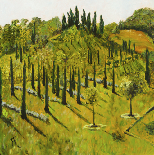 hillside of cypresses and gardens, rich oil colours, landscape (large view)