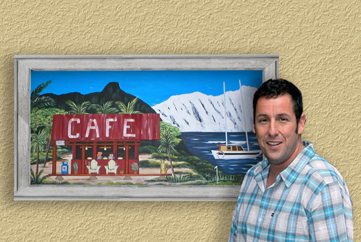 "Adam Sandler and the ""50 First Dates"" painting (large view)"