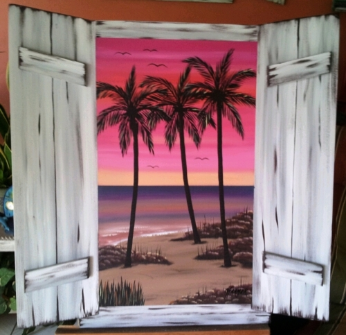 White Shuttered Window pInk sunset