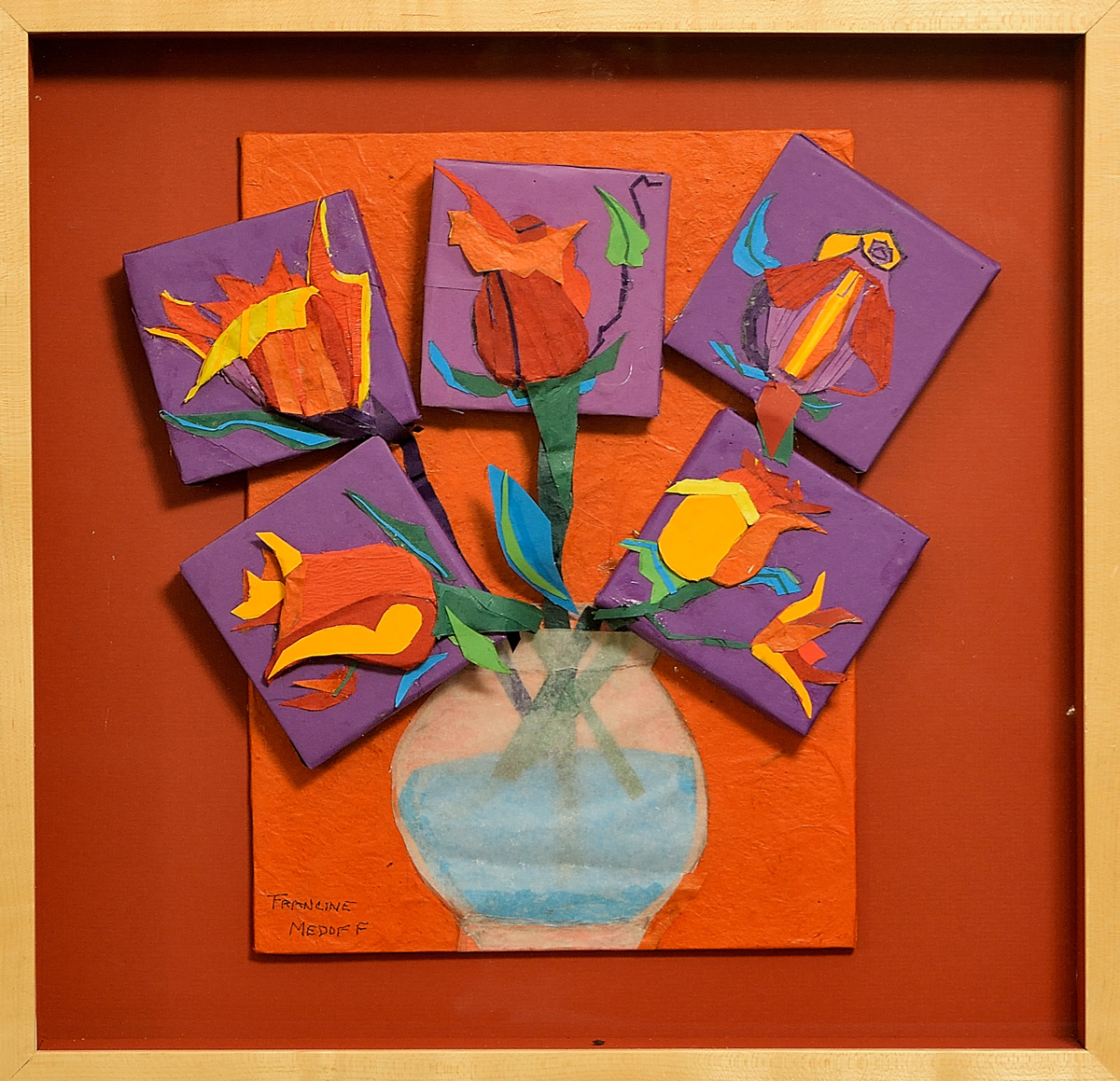 Collage Mixed Media Flowers In Water By Art Works Of Francine Medoff