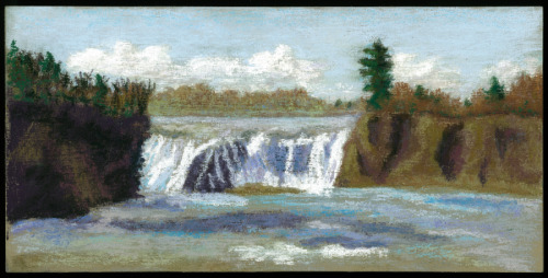 A landscape of the Cohoes Falls in upstate NY, which features in the history of the Iroquois (thumbnail)
