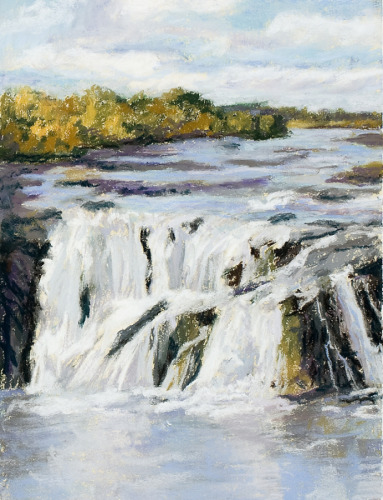 Pastel landscape of the Cohoes Falls, which features in the history of the Iroquois people. (large view)
