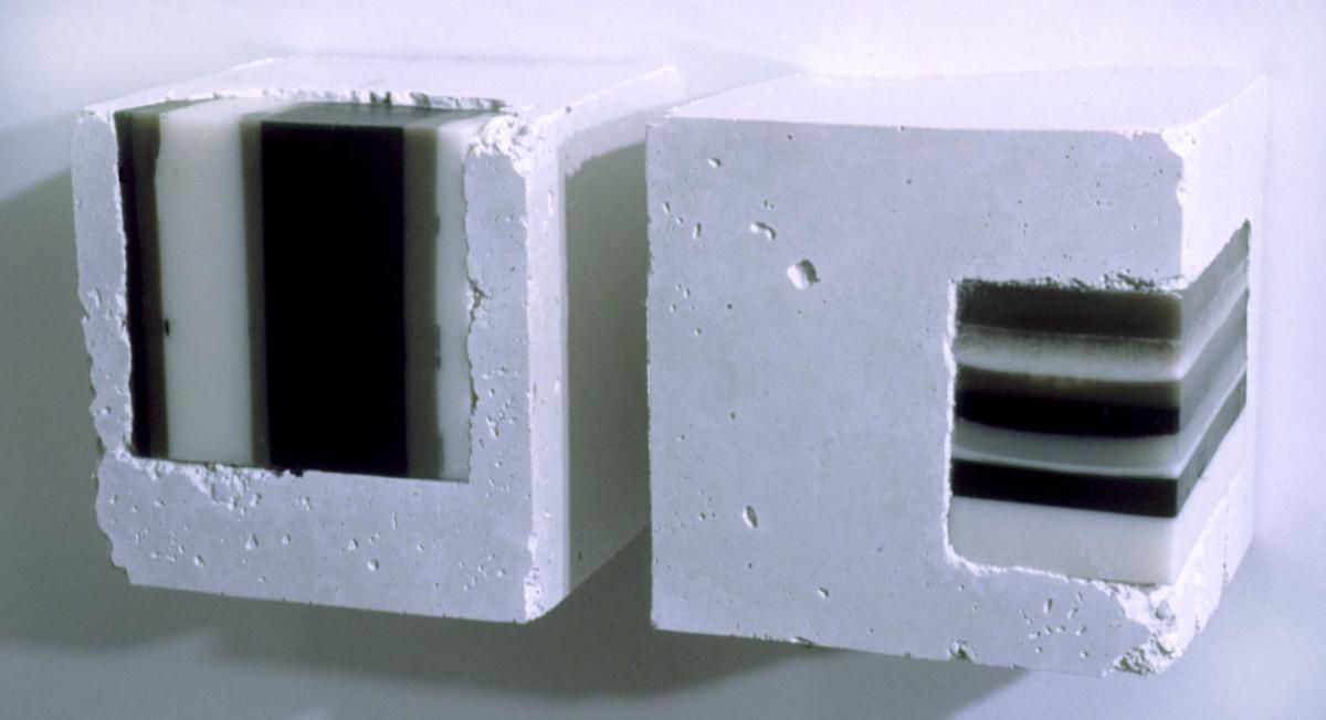 Cast white concrete with encaustic cubes (large view)