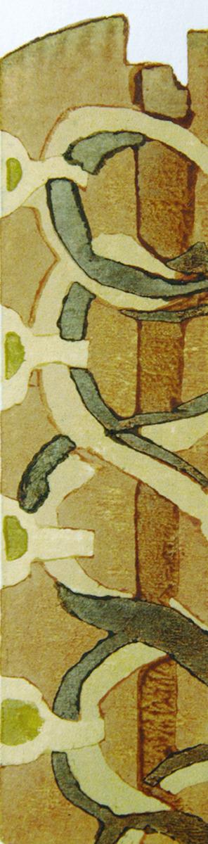 Western boots, Japanese woodblock print, moku hanga, reduction print (large view)