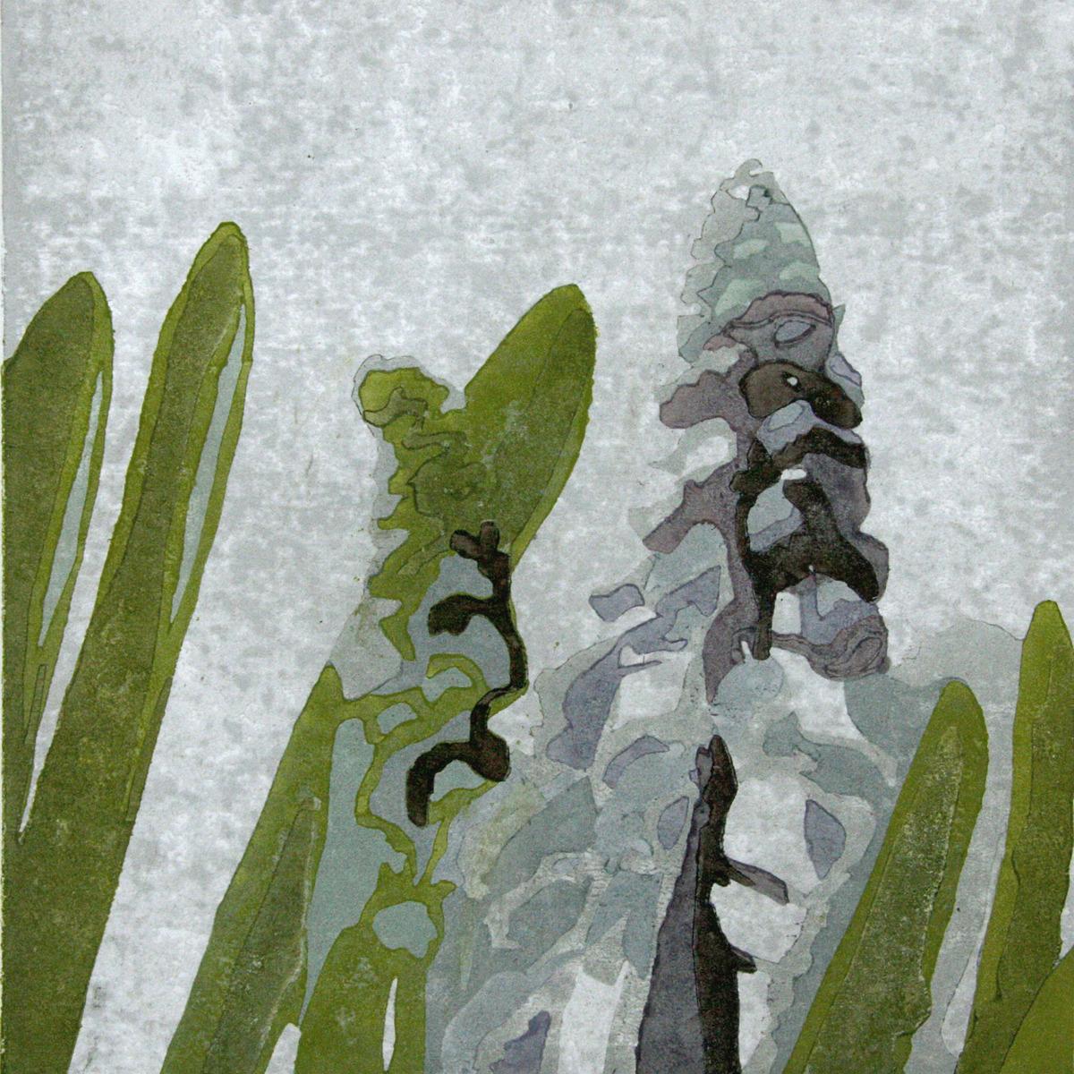 Japanese woodblock print, moku hanga, reduction print, floral (large view)