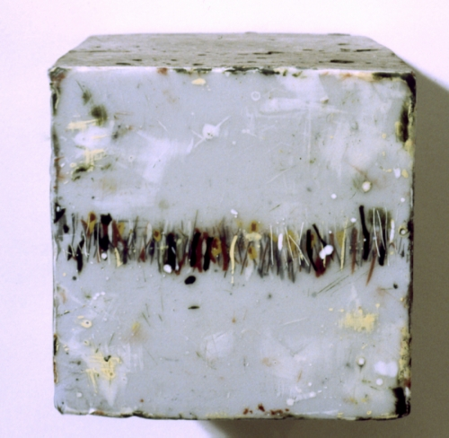 "Cast concrete cube with encaustic paint, 4x4x4"" (large view)"